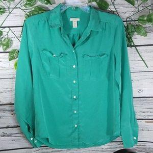 J. Crew 100% Silk button down blouse sz 4